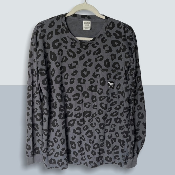 PINK VS Leopard Campus Logo Pullover Sweater